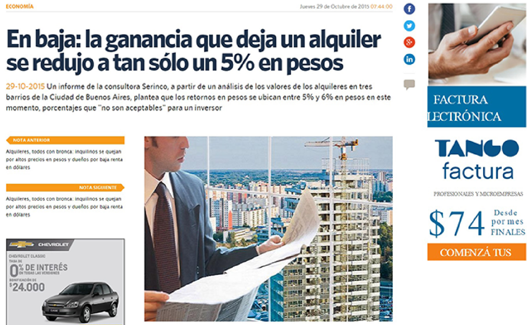 La ganancia que deja un alquiler se redujo en 5 % en pesos